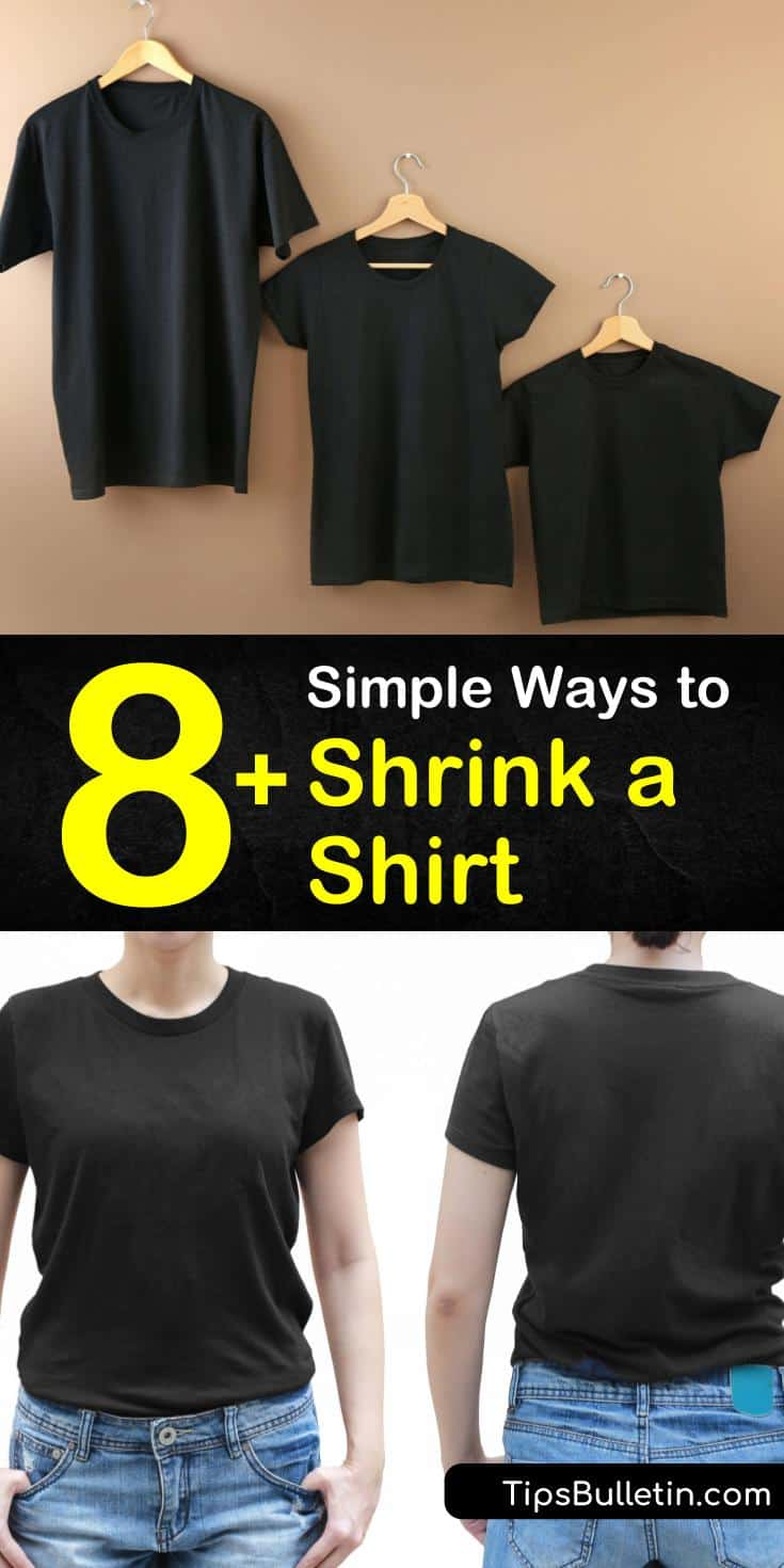 Learn how to shrink clothes with boiling water or by putting the wash cycle on a high heat setting. Dry your cotton shirts on high heat rather than hanging them out to air dry to cause more shrinkage. #shrinkashirt #shrinkshirts #shrinkingatshirt