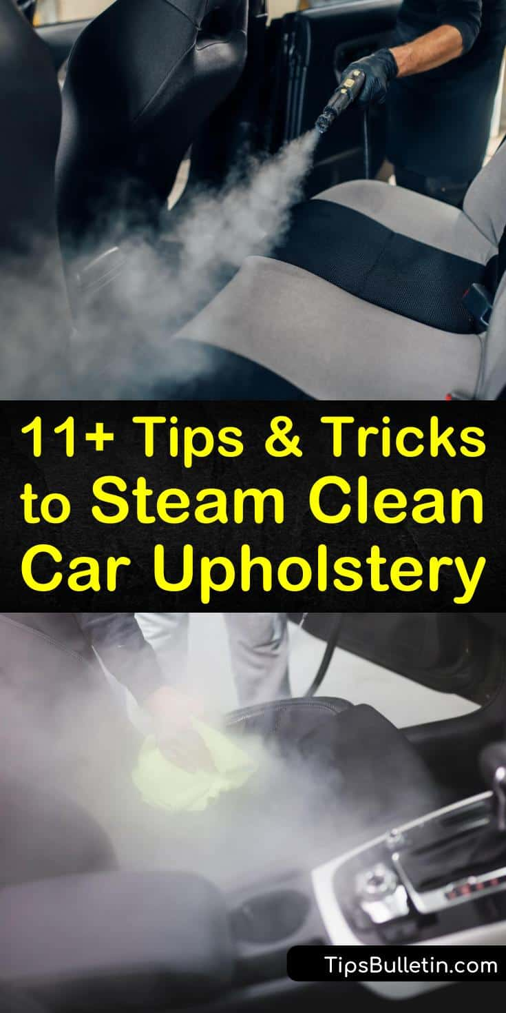 Learn how to clean car seats and car interior using a steam cleaner and upholstery cleaning solution. Make a heavy-duty cleaner to remove tough stains and grime on your vehicle seats, cup holders, and carpeting. #steamcleancarseats #carseat #steamcarseat
