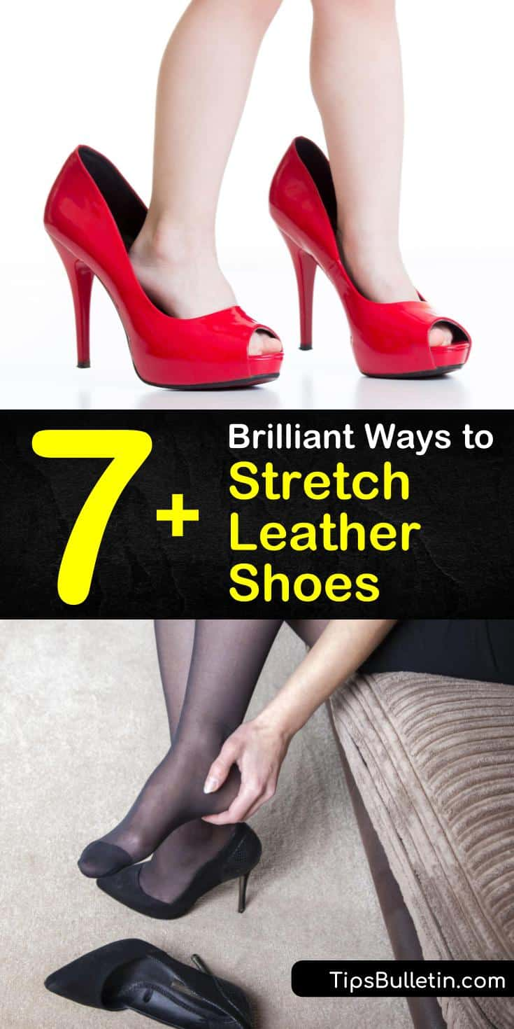 New shoes that aren't fitted properly cause pain and blisters in tired feet. Learn how to stretch shoes made of leather or suede without taking them to a cobbler by using a hair dryer or blow dryer and conditioner. #stretchleathershoes #howto #stretch #leather #shoes