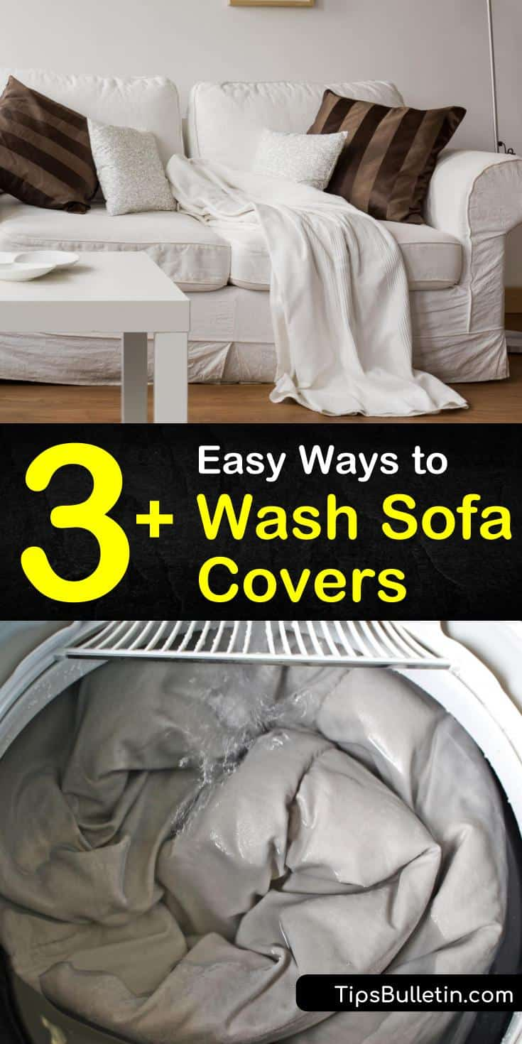 Try these incredible techniques for how to wash couch covers without shrinking or damaging them. Find the best tips for placing your washable slipcovers in the washing machine. Uncover stain removers and cleaners for treating challenging fabrics like microfiber. #wash #couch #covers #sofa