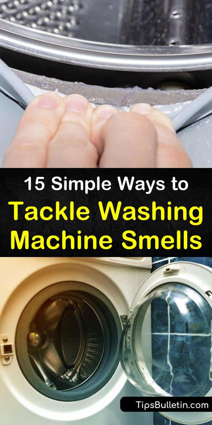 Mold and mildew in top and front loader machines are the leading cause for bad laundry room smells. Get rid of that nasty washing machine smell using bleach and hot water on a regular wash cycle. #washingmachineodors #getridofwashingmachinesmells #smellywasher