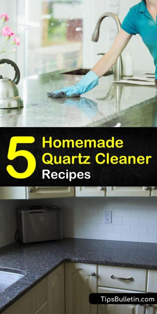 Discover how to get your countertops clean with our homemade glass cleaner recipes. We show you how to use dish soap, warm water, essential oils, and other cleaning products to clean up quartz and leave it looking like new again. #quartz #cleaning #diyquartzcleaner