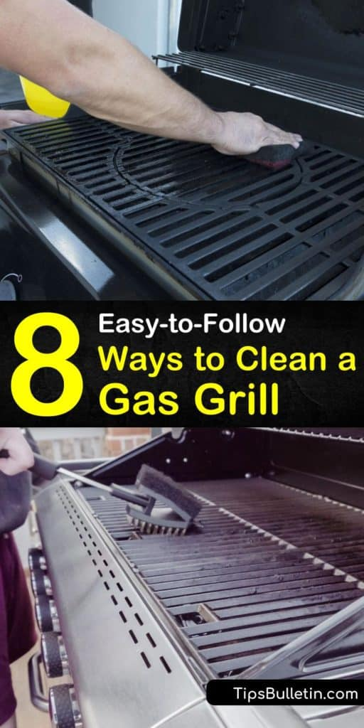 Learn how to clean your gas or electric BBQ and charcoal grill in a few easy steps. Clean a stainless steel surface with a vinegar solution and paper towels, and cast iron grill grates with soapy water and a hard bristle brush. #howtocleanagrill #cleanbbq #cleangrill