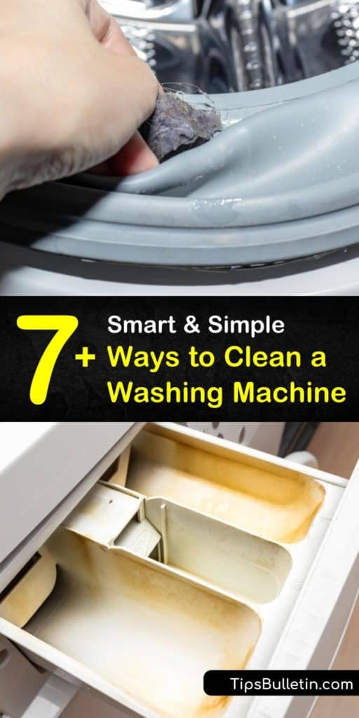 Learn how to clean away mildew in a top or front-loading washer using vinegar and a heavy duty hot water wash cycle. Wipe down the washer to remove grime and use a toothbrush to clean the fabric softener dispenser. #cleanwashingmachine #washingmachinecleaner #cleanwasher