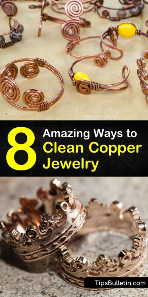 Try these amazing new ideas for how to clean copper jewelry with baking soda, tea tree oil, and a toothbrush. Use simple ingredients like ketchup, lemon juice, and salt to scrub clean your copper pieces. Seal jewelry with a clear coat of polish to prevent future tarnishing. #clean #copper #jewelry