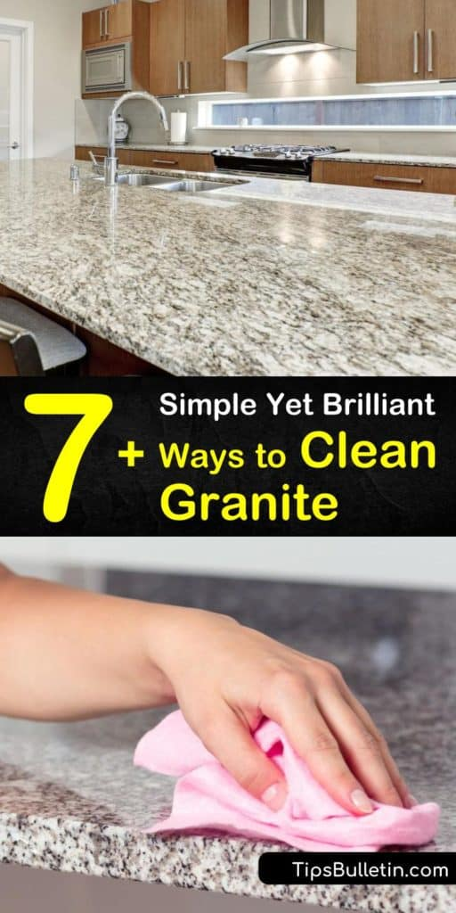 Learn how to clean granite surfaces using mild cleaning solutions. Avoid using bleach on granite to prevent damaging the sealer. Make a homemade cleaner using baking soda, dish soap, and warm water, and clean away stains with a soft cloth. #cleaninggranite #granite #clean #howtocleangranite