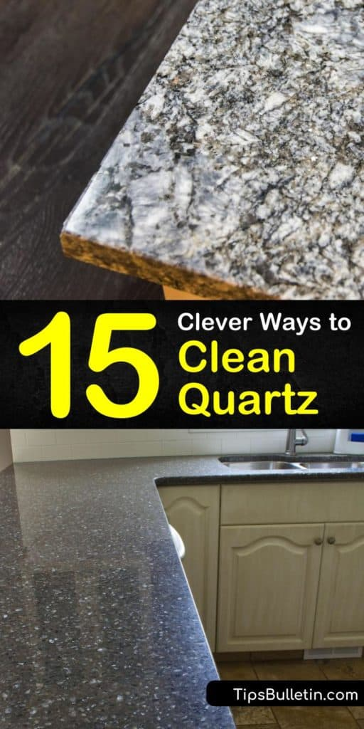 Discover easy solutions to clean quartz surfaces on kitchen countertops and floors. Use mild cleaning products and a soft cloth to clean up a quartz cutting board and use rubbing alcohol to clean quartz countertops. #cleanquartz #cleaningquartz #quartzcare