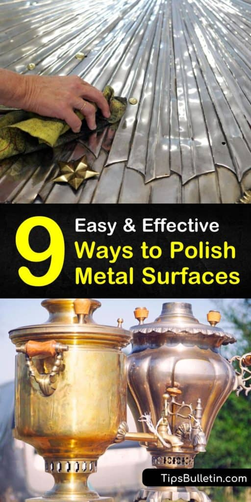 Learn metal polishing techniques using polishing wheels and a polishing compound. Clean metal surfaces to remove tarnish with a homemade polisher using baking soda, white vinegar, and a soft cloth. #polishmetal #metalpolishing #metalshine