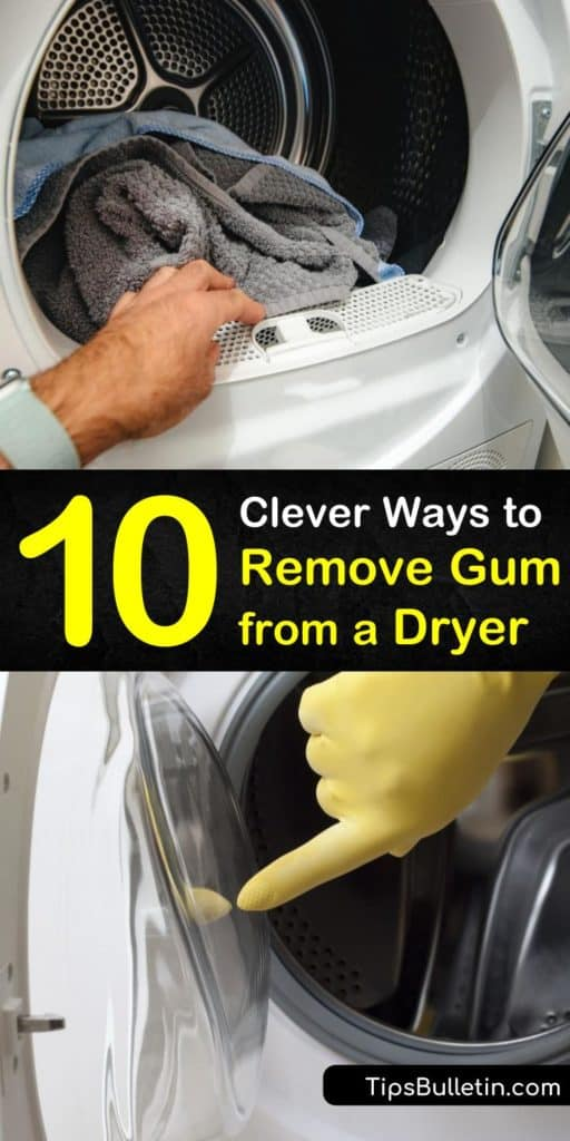 Learn how to remove gum from a clothes dryer or washing machine using ice cubes and a dryer sheet. Clean away gum residue inside of the dryer using Goo Gone, baking soda, liquid fabric softener, WD-40, and white vinegar. #removegumfromdryer #gumremover #dryer