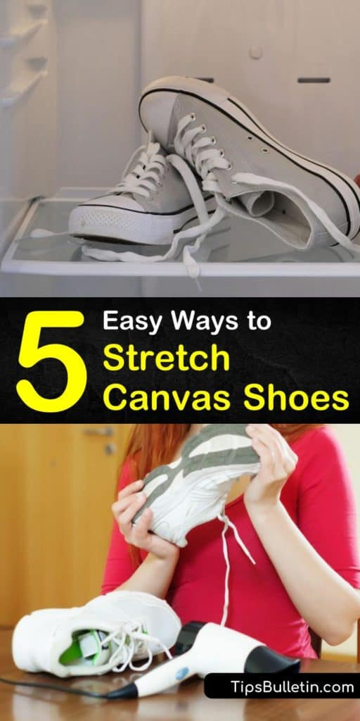 Learn how to stretch out a pair of shoes without causing blisters on your poor feet. Stretch canvas shoes with a hair dryer and an extra pair of socks or use your microwave to loosen tight shoes. #stretchcanvasshoes #canvasshoes #howtostretch