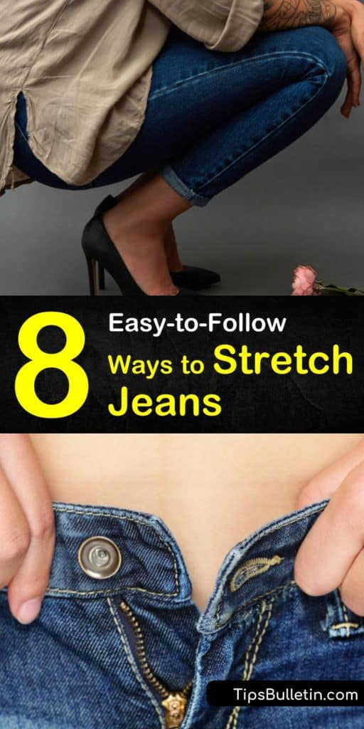 Discover how easy it is to stretch jeans using hot water, a hair dryer, and other simple solutions. Stretch skinny jeans and tight jeans with fabric softener, lukewarm water, and a spray bottle. #howtostretchjeans #stretchingjeans #jeans #stretch
