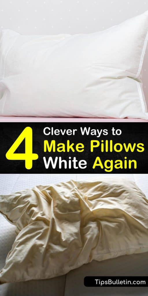 Learn how to whiten your pillows with dishwashing detergent and white vinegar. Use DIY whitening solutions and hot water to remove yellow stains from pillows and pillow cases, and fluff your pillows in the dryer with dryer balls. #whitenpillows #pillows #whitening