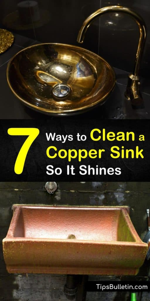 Learn how to clean a copper sink using baking soda, copper cleaner, and a little scrubbing. Our guide shows you how to protect your kitchen sink and faucet from hard water spots, bleach marks, and other discolorations. #coppersinkcleaning #cleancopper #clean #copper #sink