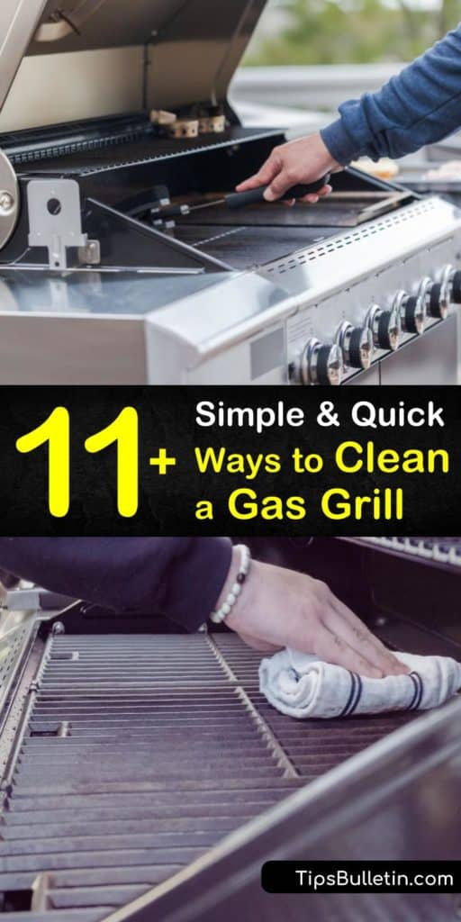 Discover excellent ideas for how to clean a gas grill using a wire brush to clear away greasy build up and foods. Try easy scrubbing recipes from soap and water to baking soda and lemongrass oil. Learn the best ways to clean tough metals like stainless steel and cast iron grills. #clean #gas #grill