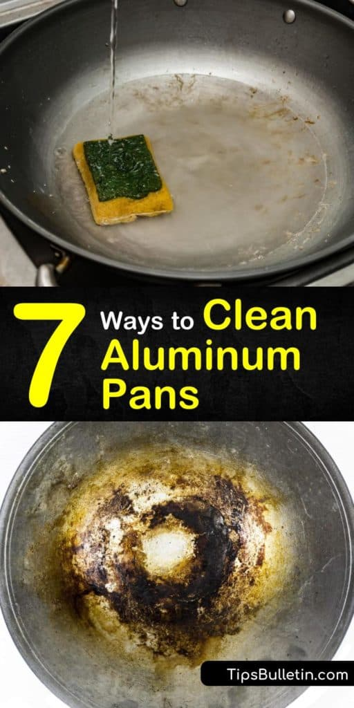 Learn how to clean aluminum pans using lemon juice, white vinegar, baking soda, and more. Our guide shows you how to use warm water and a little scrubbing to get your aluminum pots and aluminum cookware free of stains and discolorations. #aluminum #clean #aluminumpan #pan #cleanaluminumpans