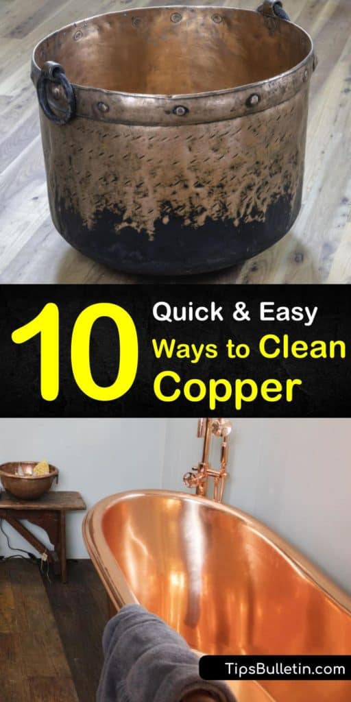 Tired of endlessly scrubbing copper pots and cookware? Let us show you how to quickly and easily remove patina and tough grime from your copper with kitchen staples like ketchup, baking soda, salt, lemon, vinegar and minimal elbow grease. #cleancopper #coppercleaning #clean #copper