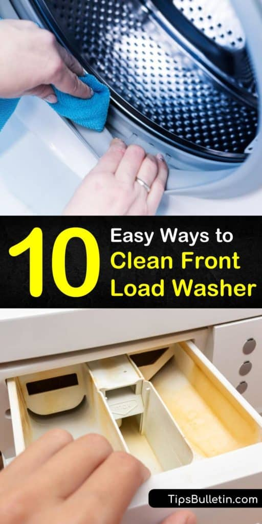 Follow these amazing tips for how to clean front load washer from dispenser to gasket to drum. Learn how to deodorize a smelly front loader with baking soda and vinegar. Practice helpful habits when using your high-efficiency machines to keep mildew and mold from forming. #clean #frontload #washer