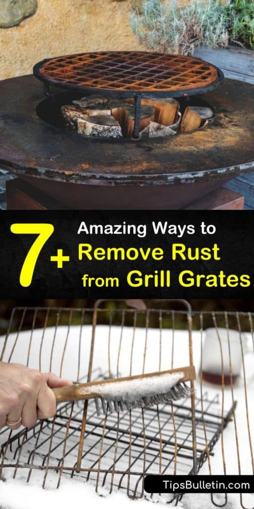Learn how to clean rust off a BBQ grate with baking soda and a wire brush for scrubbing. Prevent rusting on cast iron grates by rubbing vegetable oil over the surface with a paper towel. #cleanrustygrillgrates #grillgrates #cleaning #bbqgrates