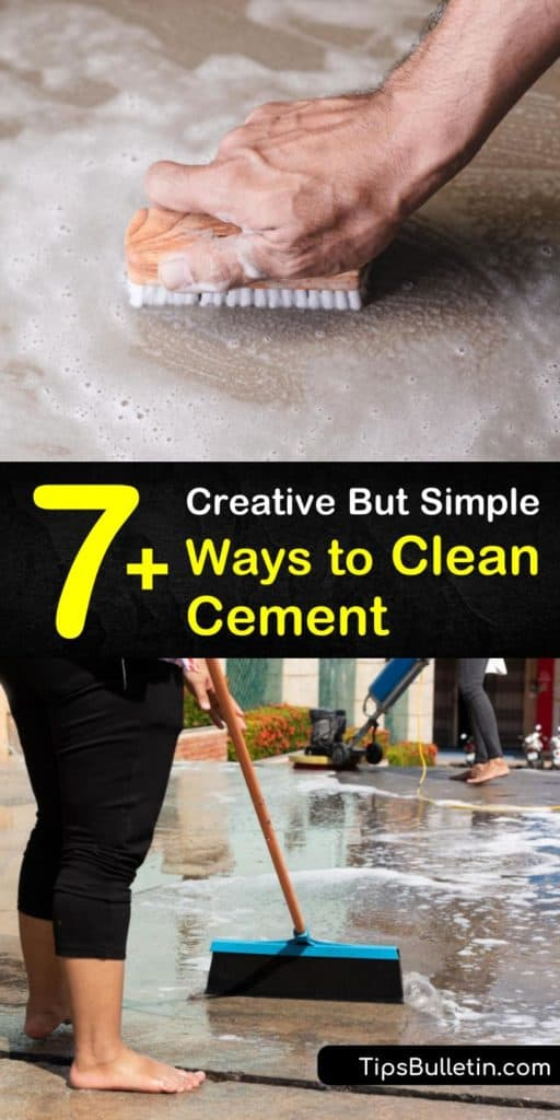 Try these helpful strategies for how to clean cement and finish it with a sealer. Use several DIY recipes for cleaning concrete using baking soda, vinegar, or oxygen bleach. Learn the best practices for removing stains, whether caused by oil, rust, or regular grime. #clean #cement #cementcleaning