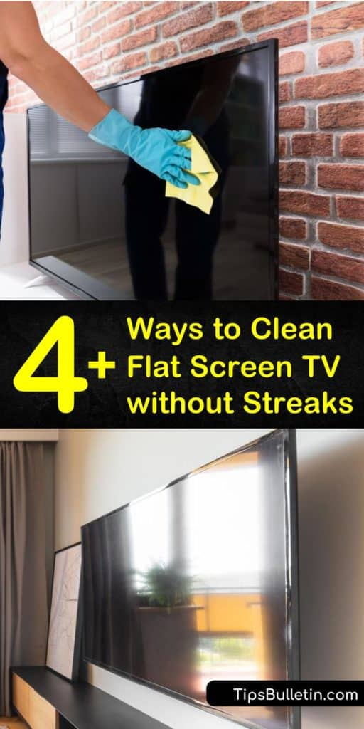 Remove smudges and dirt from a flat screen TV without using harmful cleaning products such as Windex. Clean an LED or LCD TV using a circular motion with a lint free cleaning cloth, vinegar, and water to get a streak-free clean. #tv #screen #cleaner #cleanflattvscreen #streakfreetvscreencleaner