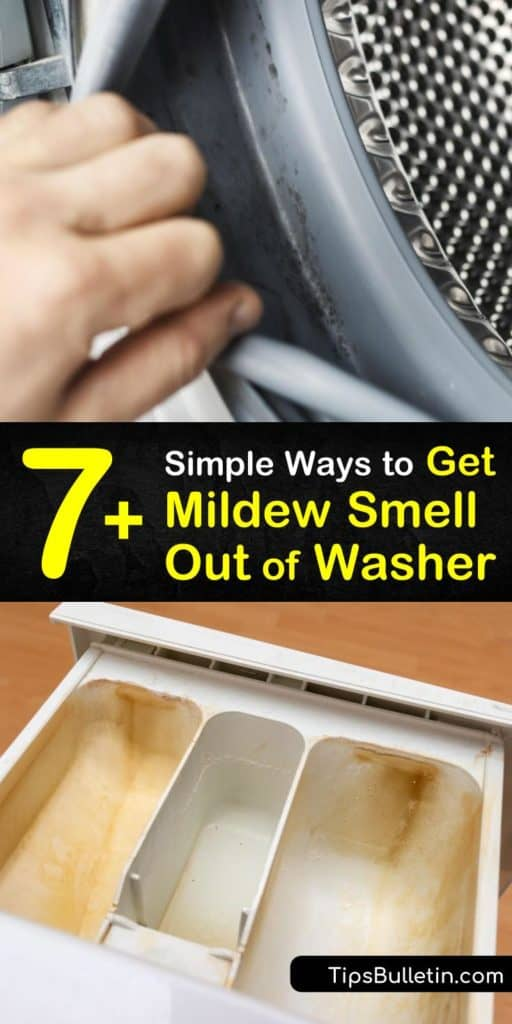Discover how to remove mildew smell from a top and front loader washer. Clean your washing machine with white vinegar, baking soda, and hot water to remove bacteria from the fabric softener dispenser, gasket, and seal. #washersmell #washingmachine #washer #smell