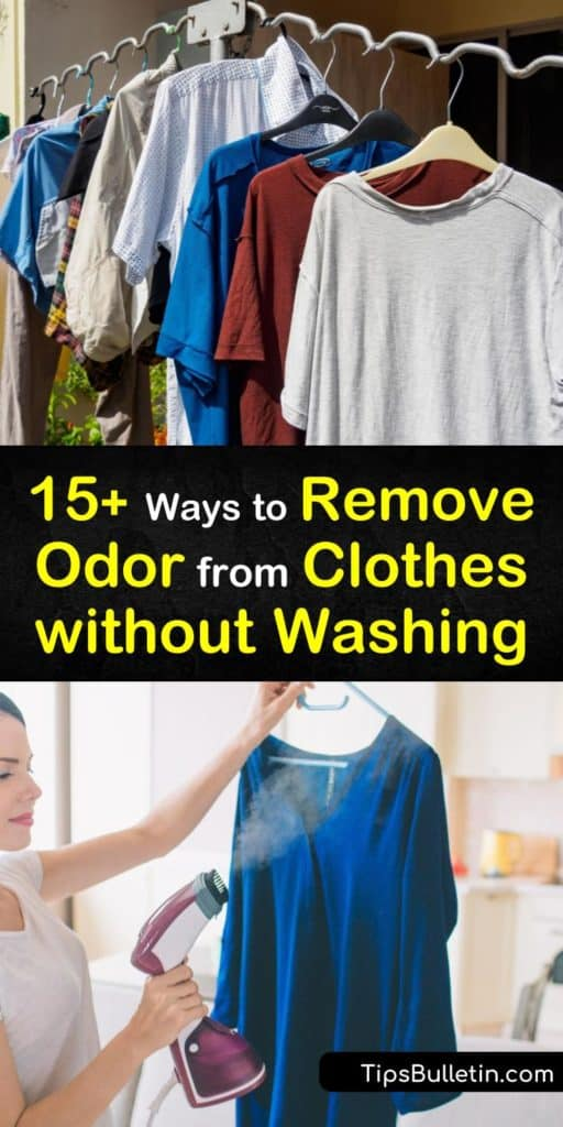 Try these amazing techniques for how to remove odor from clothes without washing. Spritz them with a vinegar solution or essential oils combo to reduce mildew smell. Use homemade linen spray and dryer sheets to eliminate foul odors in armpits of clothing. #remove #odor #clothing #without #washing