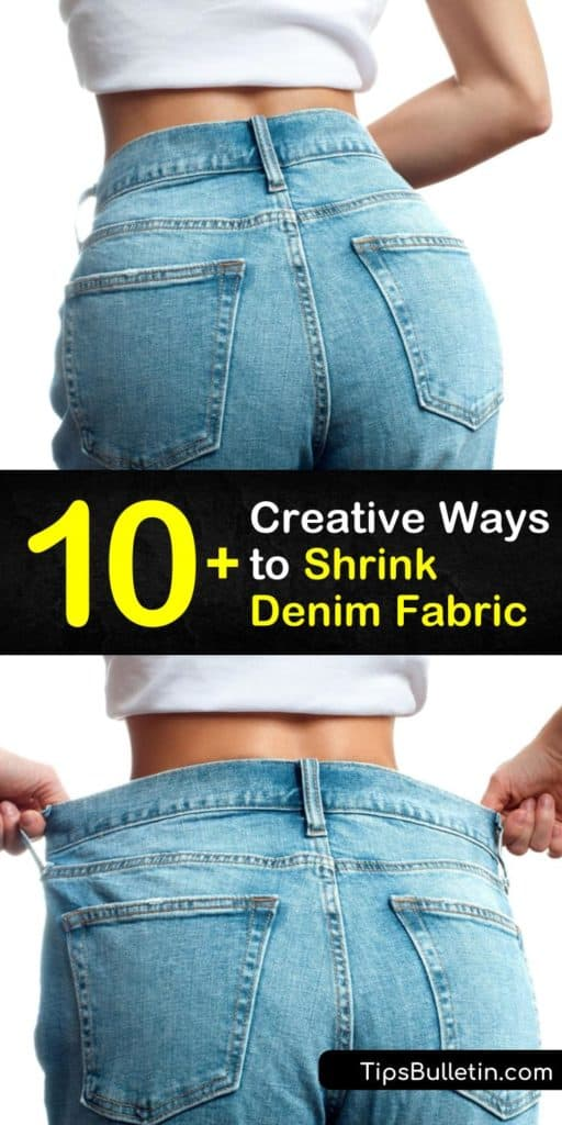Learn how to shrink baggy denim such as a pair of jeans or the waistband of a Levi skirt. Shrinking jeans is easy using high heat in the washing machine and clothes dryer. Shrink target areas with warm water, fabric softener, and a spray bottle. #shrink #denim #shrinkingdenim #shrinkingjeans