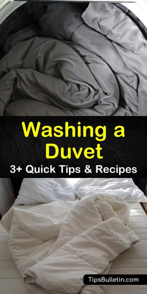 Discover how to clean a duvet insert and cover at home or the laundromat to remove dirt, stains, and mildew. Use gentle soap and avoid bleach to wash your duvet and use the air dry cycle with tennis balls to fluff it back into shape. #washingaduvet #duvet #cleaningaduvet