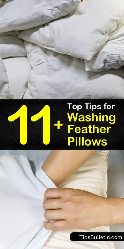 Discover how easy it is to clean feather pillows to remove dirt, mildew, and dust mites. Wash your down pillows with mild bleach on low heat and use dryer balls as an agitator to fluff those pillows to their original shape. #washingdownpillows #pillows #washdownpillows #down
