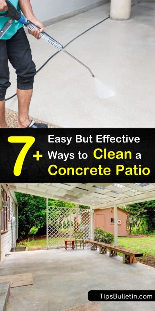 Find out how to remove the grime and mildew from your concrete patio. Use a nonmetallic scrub brush, a spray bottle, and common household products like baking soda and bleach to achieve clean concrete surfaces. #cleanconcrete #concretepatio #cleaning #concrete #patio