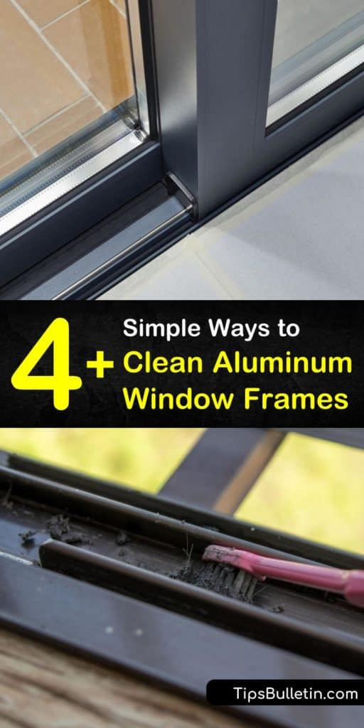 Learn how to clean aluminum window frames inside and out to remove grime and oxidation. Cleaning aluminum door frames and windows is easy using baking soda, white vinegar, fine steel wool, and a bit of scrubbing. #aluminumwindows #cleaning #cleanaluminumwindows #cleanaluminum