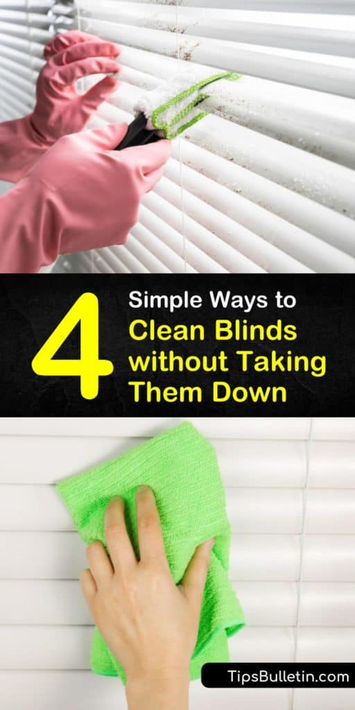 Discover how to clean blinds without having to remove them. You don't have to soak mini blinds to clean them well but instead the best way is to use a vacuum with a brush attachment or dusting with a microfiber cloth. #cleanblinds #windowblinds #wash #clean #window #miniblinds