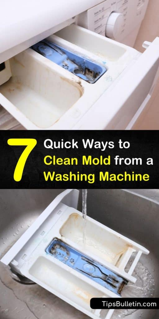 Find out more about how to clean mold from a front load washer. Who knew that mold made a home inside front loading machines? Using hot water, baking soda, and other solutions, learn to clean dispensers and stop mold growth. #mold #cleanwasher #washingmachine #moldcleaning