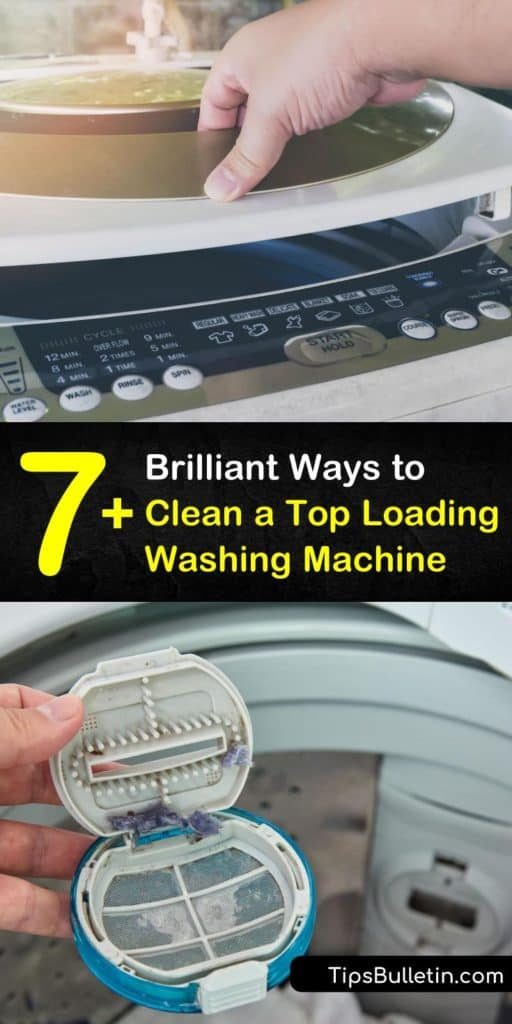 Find out how to clean a top-loading washing machine, from adding white vinegar or bleach to the liquid detergent dispenser or scrubbing mildew using a toothbrush and baking soda. #toploader #toploadingwashingmachine #cleaningwashingmachines #clean #washer