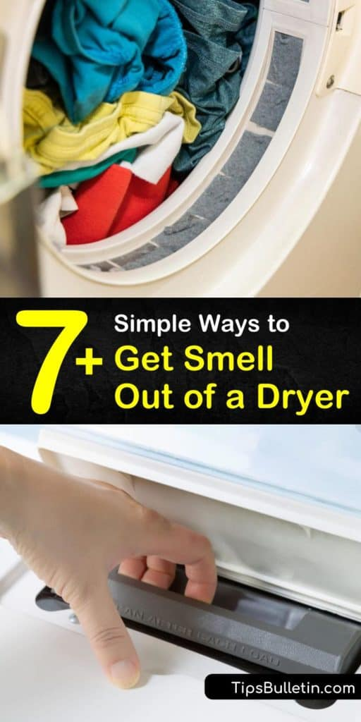 Learn how to clean your clothes dryer to remove a musty smell and foul odors. Clean the lint tray with a vacuum cleaner, wipe down the drum with hot water and bleach, and clean the gasket with white vinegar and baking soda. #dryersmells #dryerodor #smelly #dryer