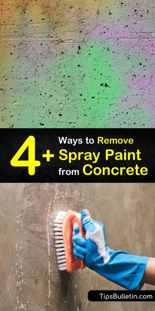 Learn how to remove spray paint from concrete after an overspray accident. Use a stripper or paint thinner with a hard bristle brush for scrubbing a concrete surface or clean away paint on outdoor surfaces with a power washer. #removespraypaint #concrete #paint #cleanpaintoffconcrete