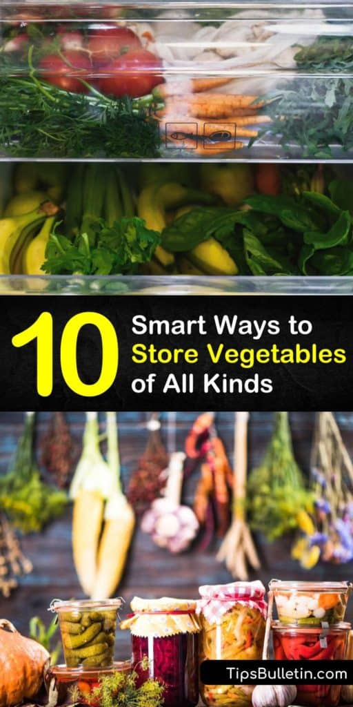 Learn how to store veggies based on their needs. Wrap leafy greens, or eggplant in paper towel and store in the fridge. Store sweet potatoes in a cool, dark place and put Brussels sprouts or cauliflower in plastic in the crisper drawer. #vegetablestorage #storingvegetables #howtostoreveggies