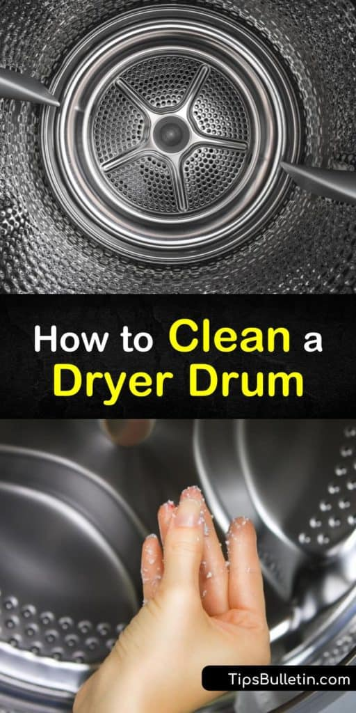 Discover how to clean your clothes dryer and prevent lint build-up before issues arise. Products like bleach and hot water on a soft cloth even remove dye. #howtocleandryer #cleaningdryerdrum #dryer #drum #cleaning