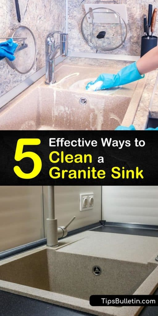 Learn how to clean a granite kitchen sink. Use scrubbing, hot water, a soft cloth, and a natural cleaner like dish soap or baking soda to remove mineral deposits. Make sure to avoid strong cleaners like white vinegar and abrasive materials like steel wool. #cleangranite #granitesink #cleansink