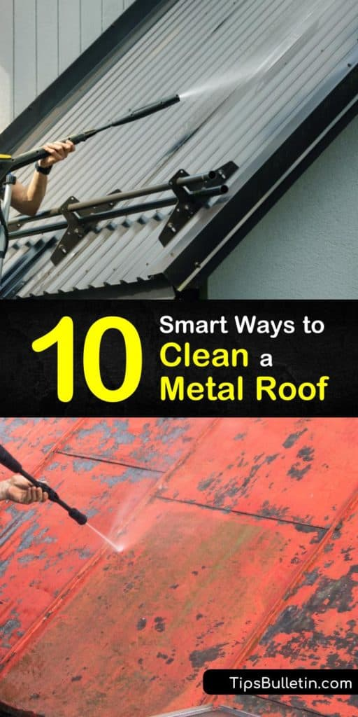 Learning how to clean a metal roof is as easy as using a pressure washer and soap. For severe cases, a stronger cleaning solution with bleach, TSP, or oxalic acid may also be required. Discover the best ways to remove rust, mold, and algae from metal roofing without damaging it. #clean #metal #roof