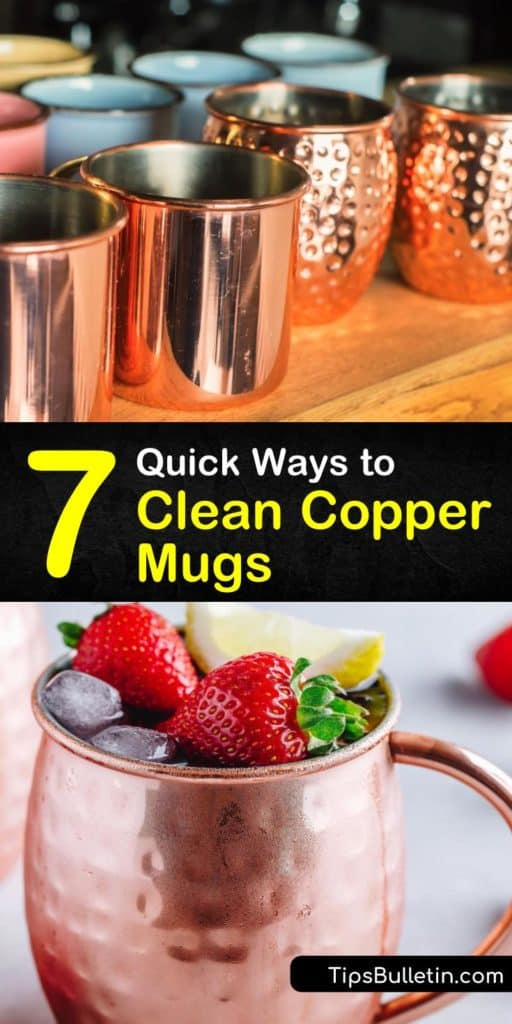 Learn about caring for and cleaning copper Moscow mule mugs by washing them with dish soap and warm water instead of running them through the dishwasher. Use a natural copper cleaner like baking soda or ketchup to get rid of tarnishing. #copper #mugs #cleancopper #tarnish