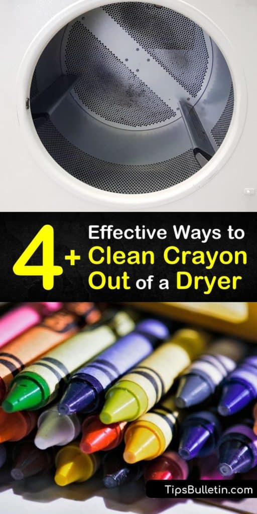 Discover the simplest stain removal methods for removing crayon marks from the dryer with a few tools like a Magic Eraser and toothbrush. Melted crayon isn't so hard to tackle with a little hot water, bleach, and elbow grease. #clean #crayon #wax #dryer