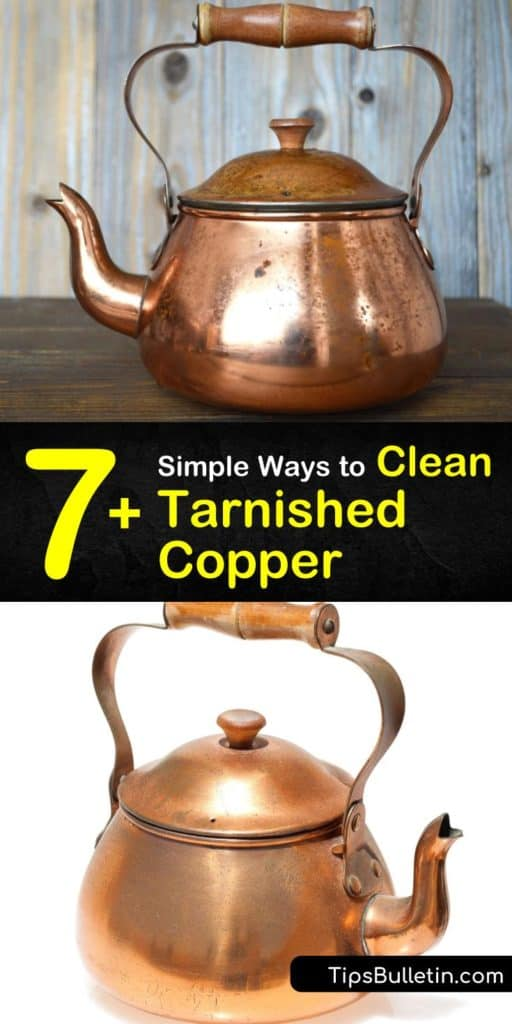 Figure out how to clean patina off a copper piece by using DIY copper cleaners, such as baking soda and ketchup. With elbow grease and soft cloth for scrubbing, tarnished copper doesn't stand a chance. #clean #copper #cleancopper #cleantarnishedcopper