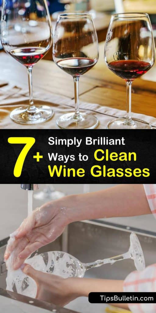 Discover the easiest ways to clean wine glasses or a decanter. Stemware with red wine stains stands no chance against the right dish soap and a lint-free towel. Kiss hand-washing your glassware goodbye for good. #clean #wine #glasses #stains