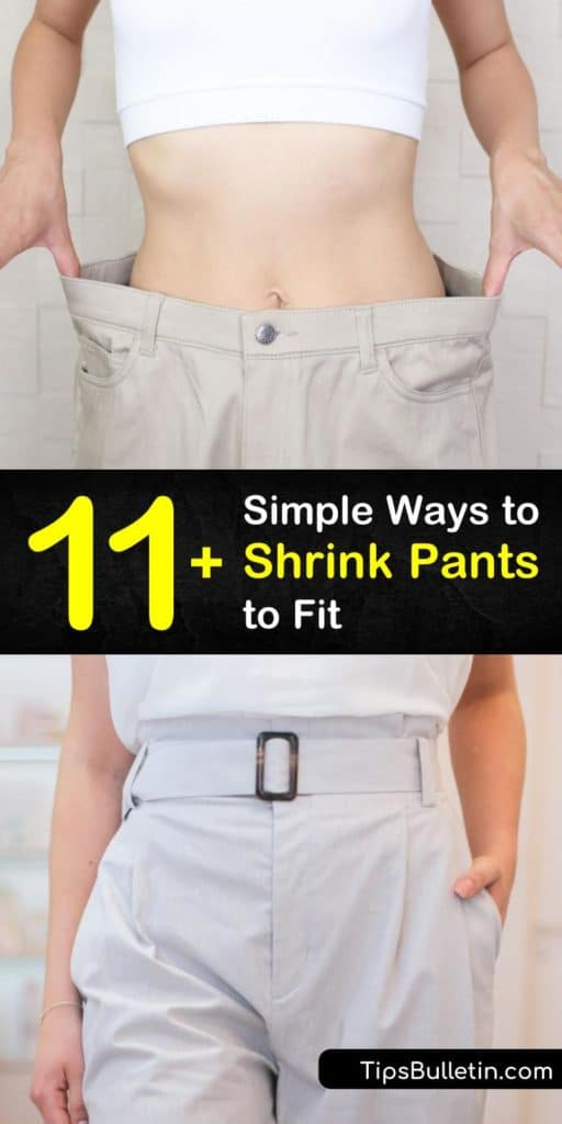 Discover some of the best methods for how to shrink pants using techniques like ironing with and without steam. Try various settings in the washing machine and dryer to shrink jeans by half a size to a whole size. Follow these DIY to keep your pants snug and form-fitting. #shrink #pants #shrinkjeans