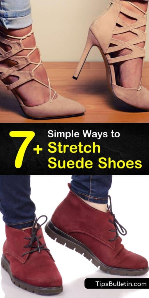 Learn how to stretch suede shoes at home using a thick pair of socks, stretch spray, or another DIY hack like rubbing alcohol. Our article even offers tips for stretching a pair of shoes for bunions. #howtostretch #suede #stretching #suedeshoes #shoes