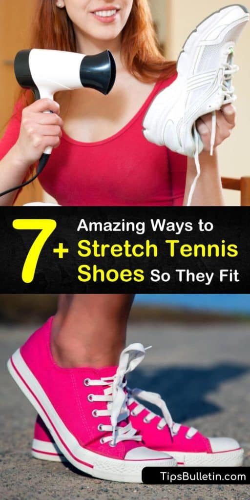 Here are tips for stretching tight shoes to prevent blisters and bunions. Instead of visiting the cobbler, widen the toe box of your leather shoes with a hair dryer and a thick pair of socks or stretch your canvas shoes by freezing a bag of water. #tightshoes #stretchshoes #stretchtennisshoes