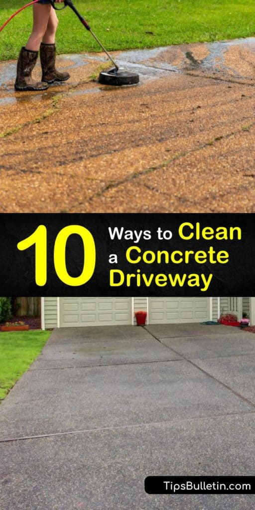Free your concrete driveway from oil stains, grime, and mildew with these powerful homemade bleach cleaners. Scrubbing with a bristle brush, rinsing with a garden hose, and applying a sealer leaves your driveway looking like it's been freshly poured. #clean #concrete #driveway