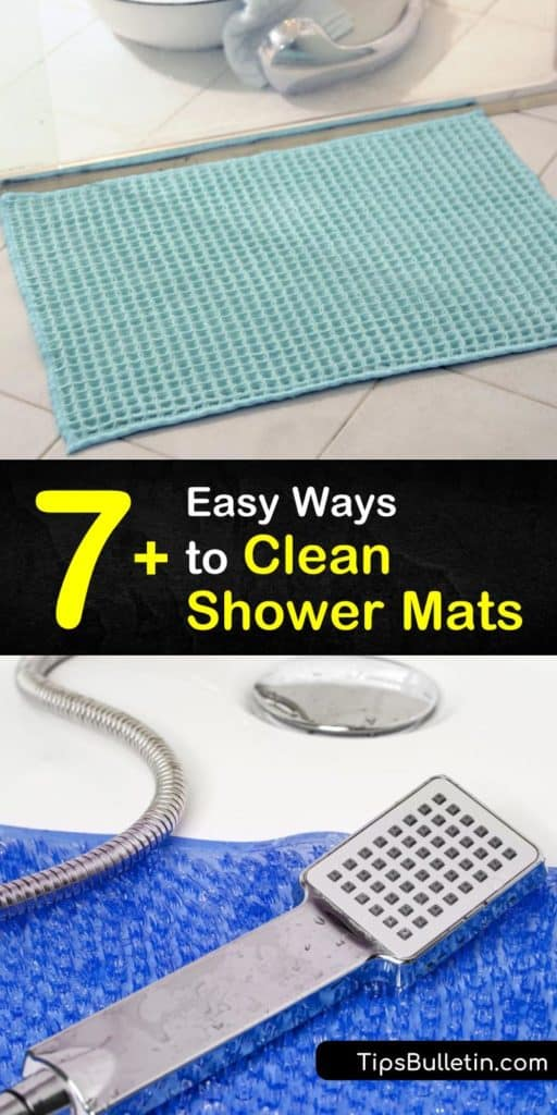 There are many ways to clean a shower mat, from scrubbing grime free with bleach or white vinegar. The material of your shower curtain or rug determines whether you use hot or warm water. #clean #showermat #shower #cleaning