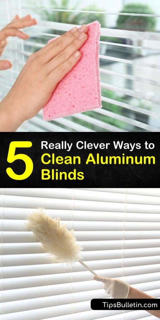 Learn how to clean mini blinds, vertical blinds, and other aluminum window blinds using simple techniques and cleaners. Clean dust off aluminum blinds with a vacuum brush attachment, and remove grime with water and dish soap. #aluminumblindcleaner #cleaningaluminumblinds #cleaningaluminumminiblinds